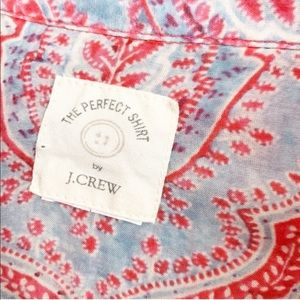 J. Crew Tops - J Crew Red Paisley Perfect Button Up Size Small